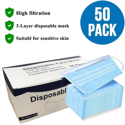 3 Layer Medical Disposable Face Mask Blue (50 pcs)